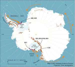 mapa Antártida, detalle Mar de Ross