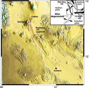 mapa topográfico de la depresión de Afar