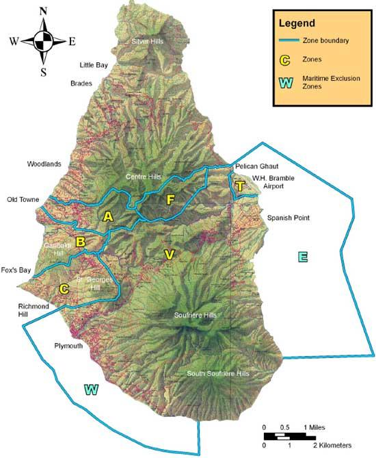 mapa de zonas de peligro, volcán Soufriere Hills