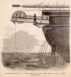 maquinaria de un barco de antigua instalación de un cable submarino