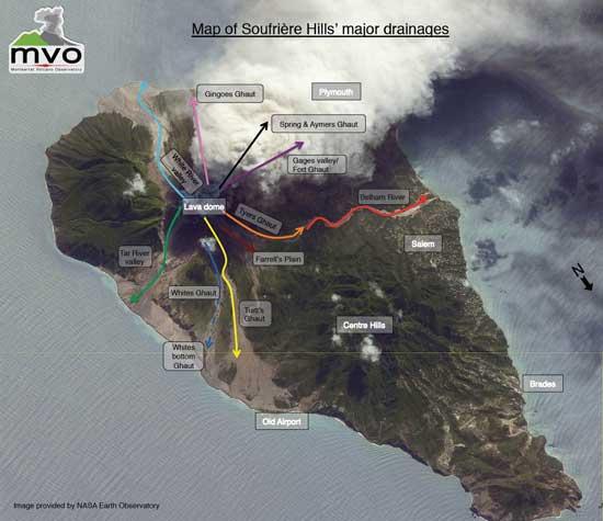 mapa rotulado Isla de Monserrat