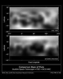 Plutón, Hubble, comparación imágenes