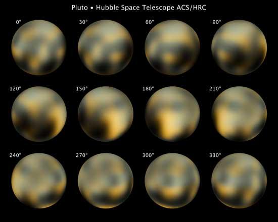 Plutón, imágenes del telescopio Hubble