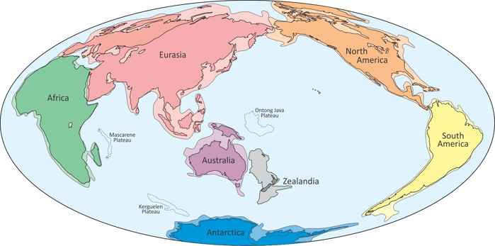 Zealandia en el mapa del mundo