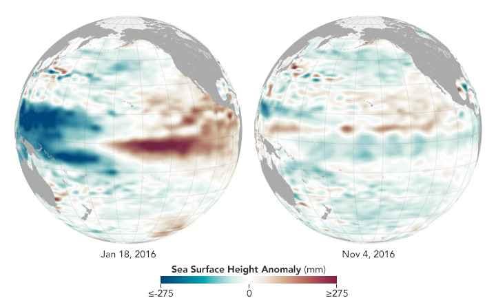 altura de la superficie del mar en el Océano Pacífico