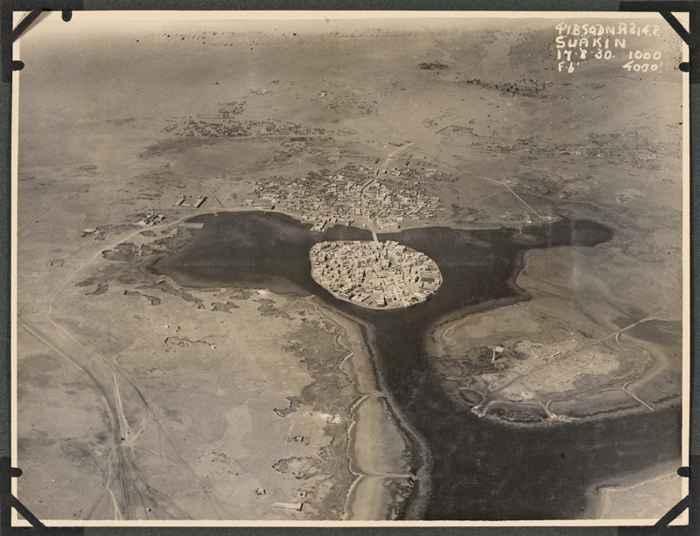 antigua vista aérea de la isla de Suakin
