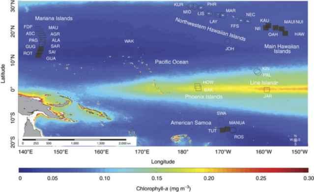 arrecifes y atolones en el Pacífico