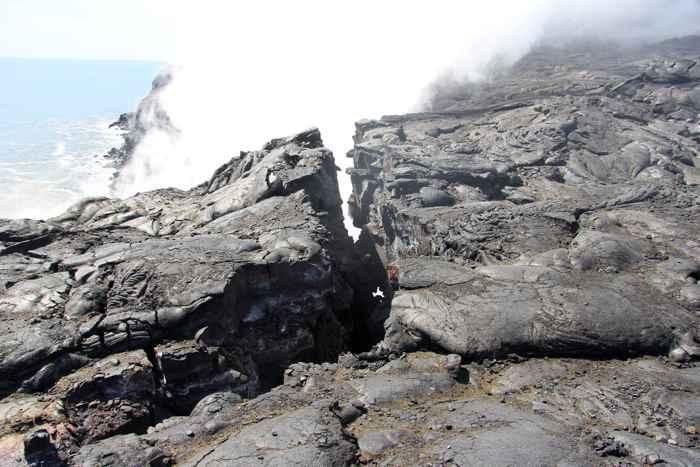 colapso de un acantilado de lava en Hawái