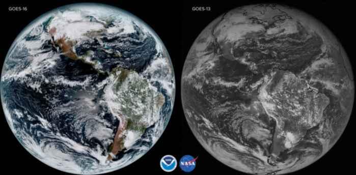 comparación imágenes del GOES 16 y el 13