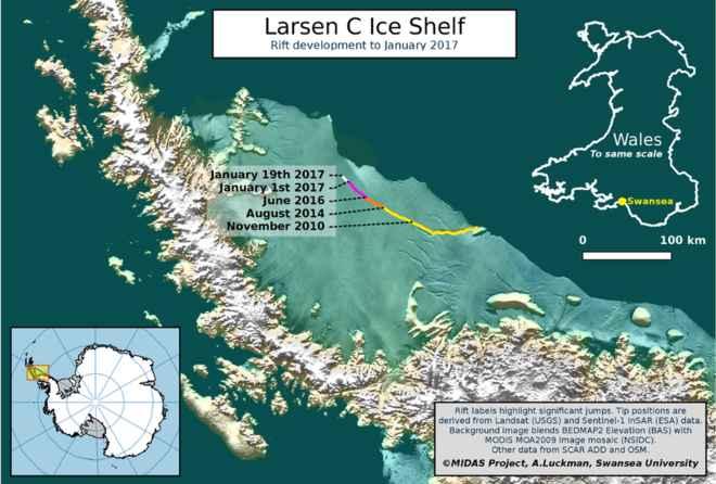crecimiento de la grieta en Larsen C 19-enero-2017