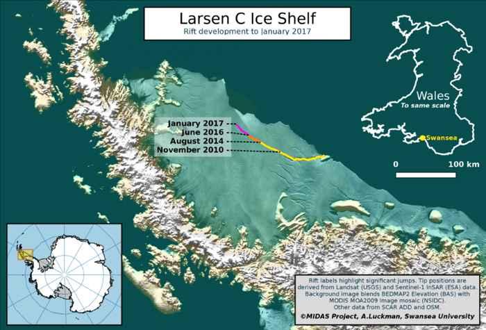 crecimiento de la grieta en la plataforma de hielo Larsen C