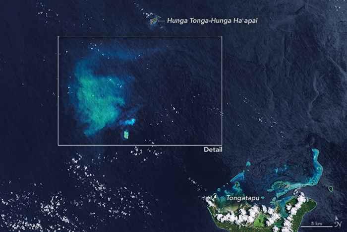 erupción submarina en Hunga Tonga