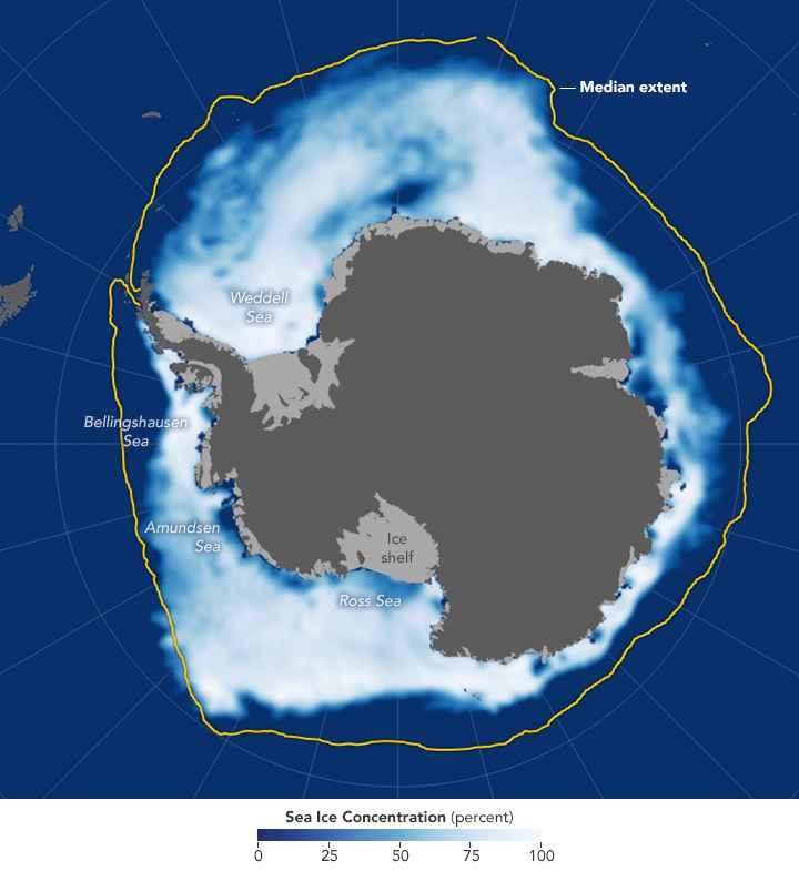 extensión del hielo marino antártico en noviembre de 2016