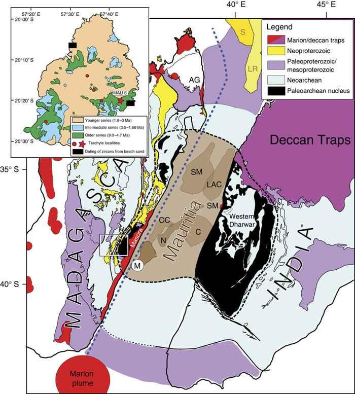 geología simplificada de Madagascar, Mauricio e India