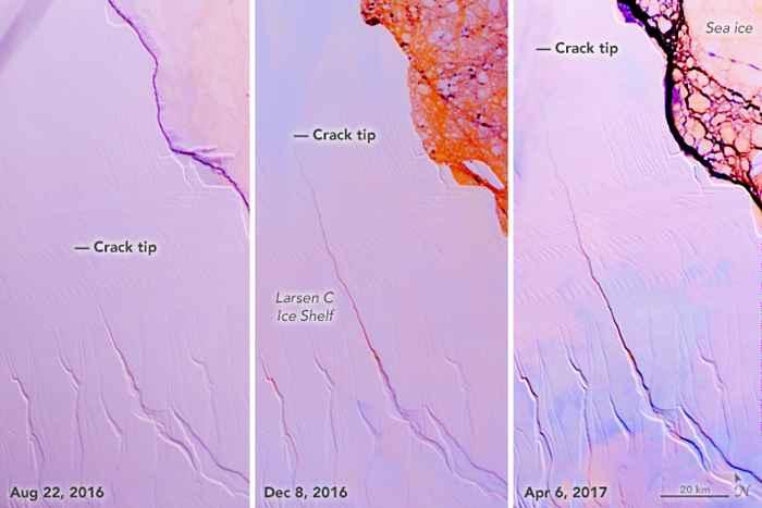 crecimiento de la grieta en la plataforma de hielo Larsen C de la Antártida