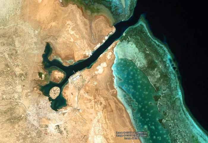 imagen de satélite de la isla de Suakin