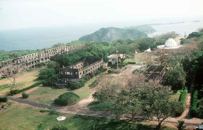 vista  aérea de las ruinas de la isla del Corregidor, Filipinas