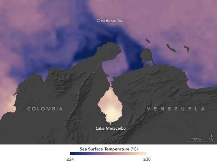 temperaturas del agua en el lago Maracaibo y el Mar Caribe