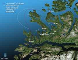 mapa túnel para buques de Stad, Noruega
