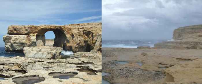 la Ventana Azul de Malta derrumbada