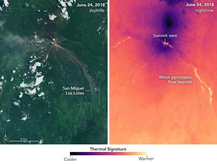 calor en los flujos piroclásticos del Volcán de Fuego