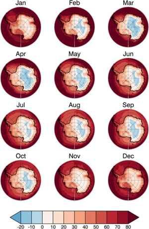 gases de efecto invernadero en la Antártida