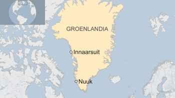 iceberg en Innaarsuit, Groenlandia, mapa