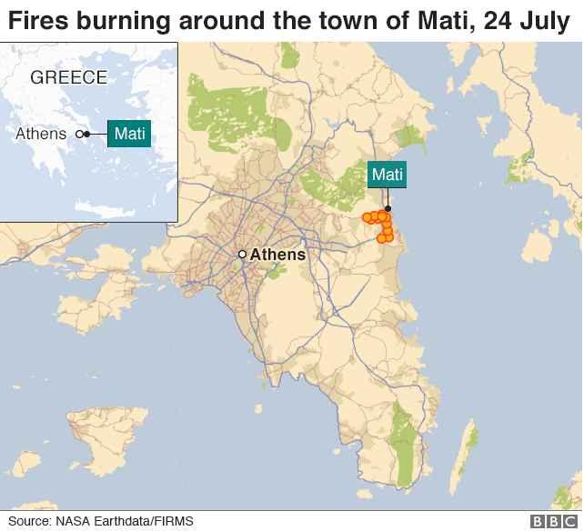 incendios forestales en Mati, Grecia