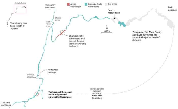 mapa de la cuevas Tham Luang, Tailandia