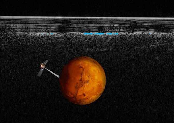 radargrama Marte con la nave