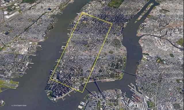 tamaño del iceberg comparado con Manhattan