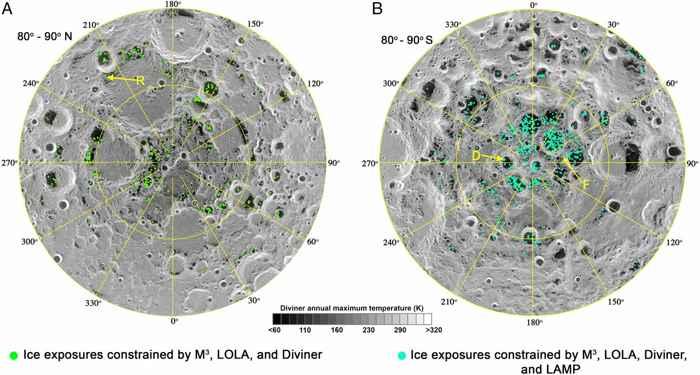 agua en los polos de la Luna