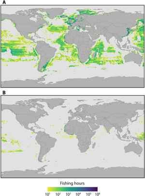 distribución global de la pesca industrial