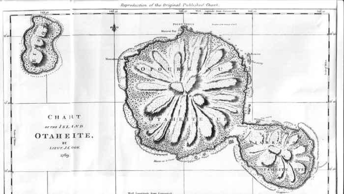 mapa  de la isla de Tahiti de James Cook