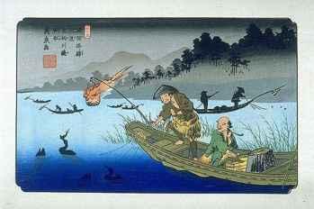 ukai, la pesca con cormoranes en Japón, grabado antiguo