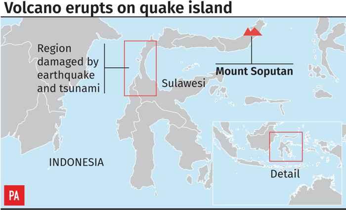 situación de Palu y el volcán Soputan