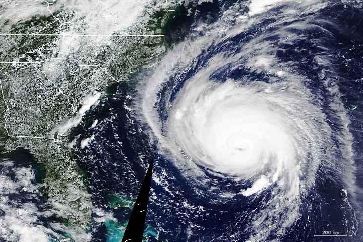 huracán Florence desde la ISS el 12-09-2018