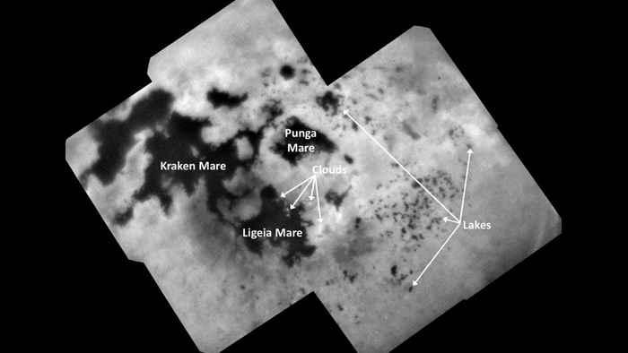 lagos y mares en el polo norte de Titán