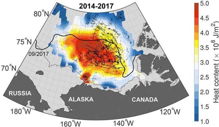 mapa de contenido de calor en el Giro de Beaufort