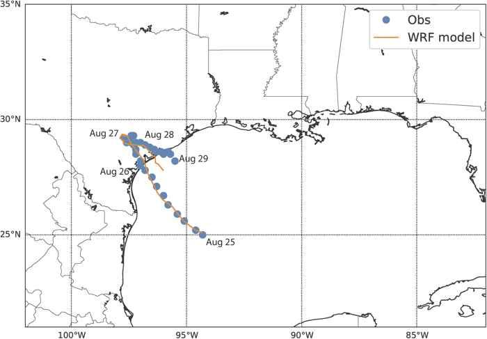 recorrido del huracán Harvey