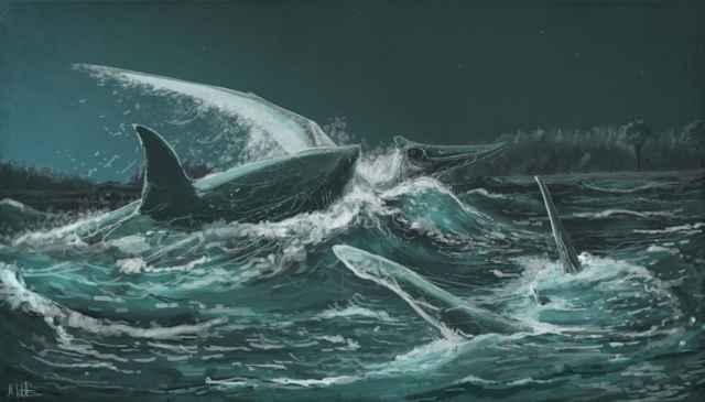 tiburón Squalicorax kaupi ataca a un Pteranodon
