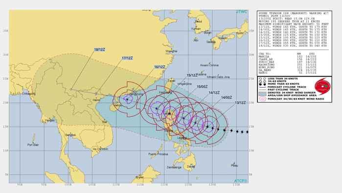tifón Mangkhut, recorrido previsto