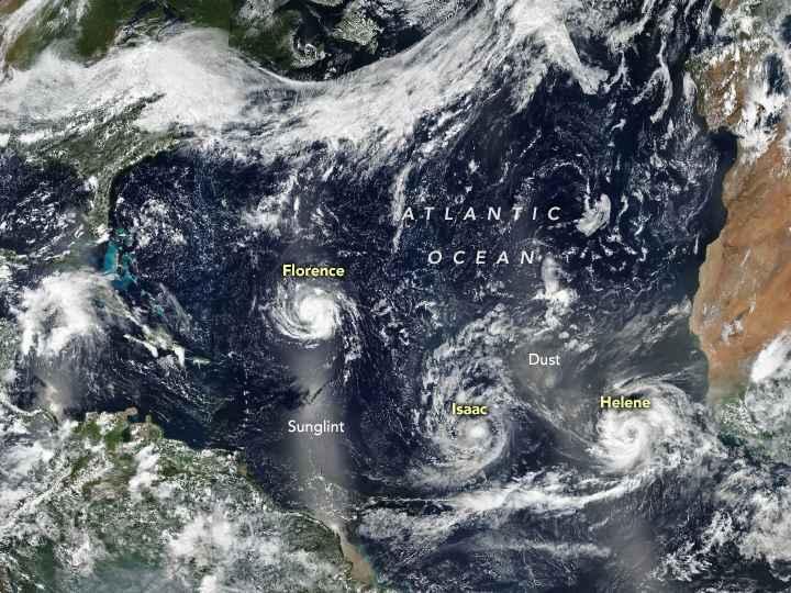 huracanes Florence, Isaac y Helene en el Atlántico