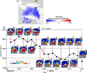 disminución del hielo marino viejo
