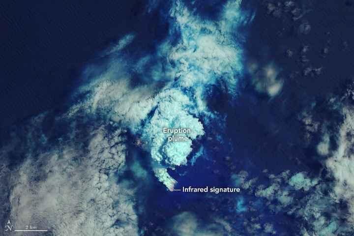 erupción submarina en la isla Lateiki