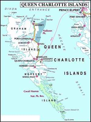 mapa Haida Gwaii