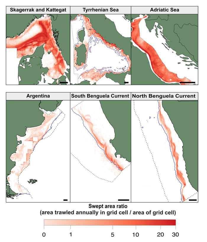 mapas de intensidad de la pesca de arrastre