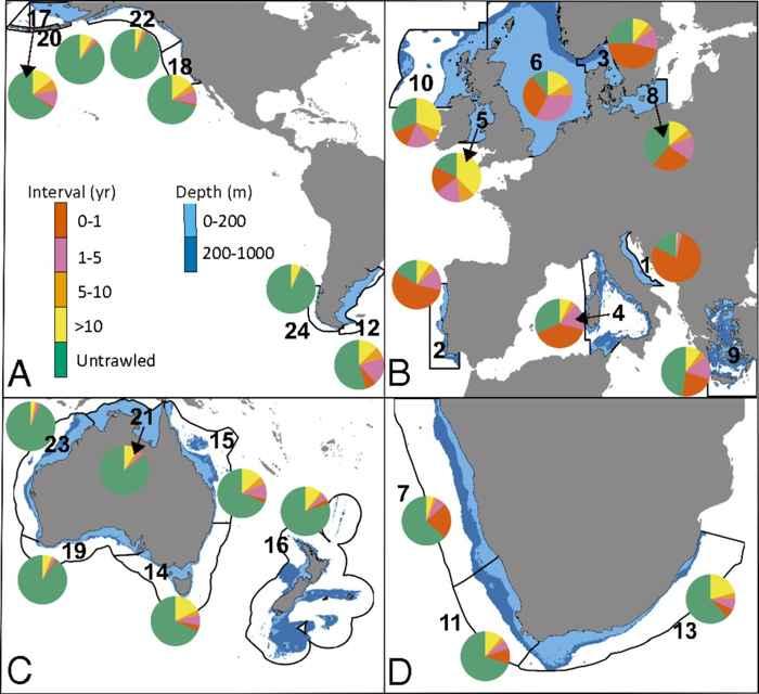 mapas de lugares de pesca de arrastre