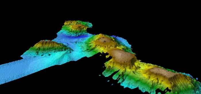 volcanes submarinos en la costa de Tasmania