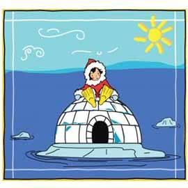 Un iglú en el mar a causa del cambio climático